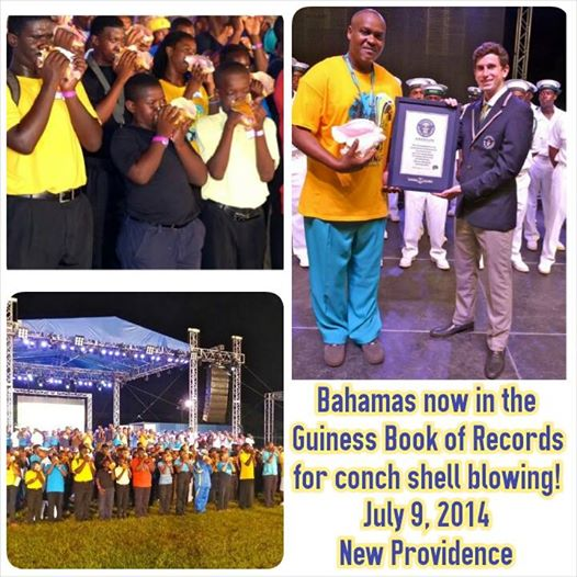 Photo: Christian Justilien has led the #Bahamas into the #GuinessBookofWorldRecords for most #conch shells blown at the same time. The event occurred last night, July 9th, 2014 with a Guiness Book judge on hand to confirm. Did you watch it live? Happy 41 Bahamas! Share with someone who may not know
