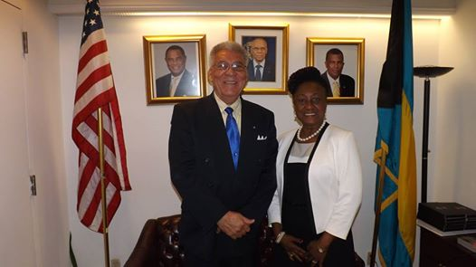 Photo: NEW YORK -- The Hon. Dr. Donna Hunte-Cox,  Barbados Consul General to New York, paid a courtesy call on the Hon. Forrester J. Carroll, Bahamas Consul General to New York, on July 7, 2014, at Bahamas House 231 East 46th Street, New York.