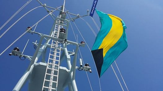 Photo: That's our Bahamian flag in the North Sea being raised
