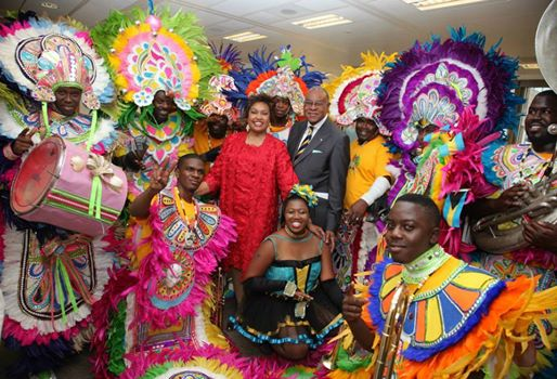 Photo: His Excellency High Commissioner for London, Eldred Bethel and Mrs Bethel with The Commandos Junkanoo Group at The Bahamas Independence Reception..